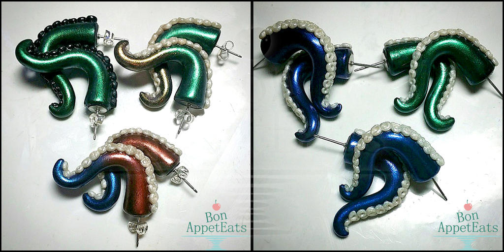 Custom Tentacle Earrings by Bon-AppetEats