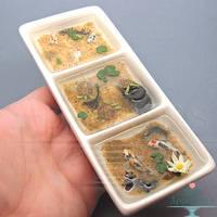 Split Dish Miniature Pond by PepperTreeArt