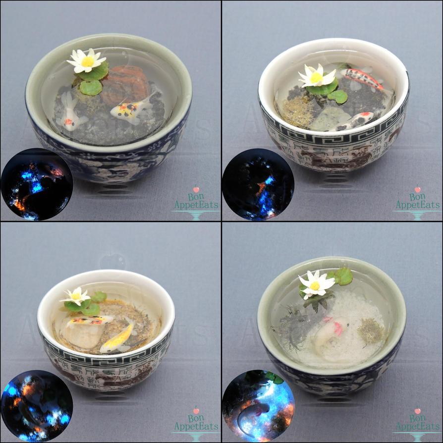 New miniature sake cup ponds by peppertreeart on deviantart for Mini koi pond