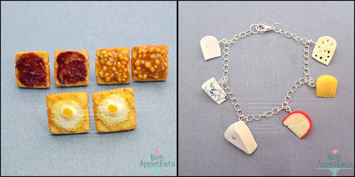 Toast Earrings and Cheese Charm Bracelet