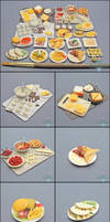 Commission - 1:12 Scale Dollhouse Foods by PepperTreeArt
