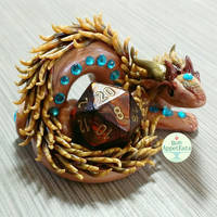 Copper and Aqua Dragon Dice Holder by PepperTreeArt