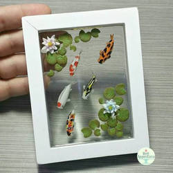 Koi Pond Picture Frame, Version 2 by PepperTreeArt