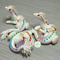 Pastel Rainbow Scrap Clay Dragons by PepperTreeArt