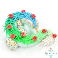 Miniature Green Blue Rose Dragon by PepperTreeArt