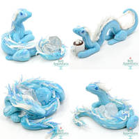 Small Ice Dragon Sculptures by PepperTreeArt
