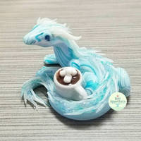 Commission - Small Ice Dragon Sculpture by PepperTreeArt