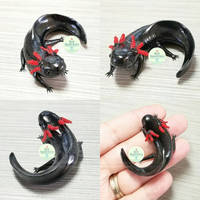 Commission - Small Black Axolotl Sculpture by PepperTreeArt