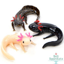 Small Axolotl Sculptures by PepperTreeArt