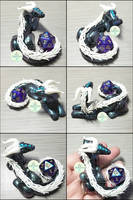 Commission - Galaxy Dragon Dice Holder by PepperTreeArt