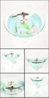 Commission - Shark Martini Glass Pond