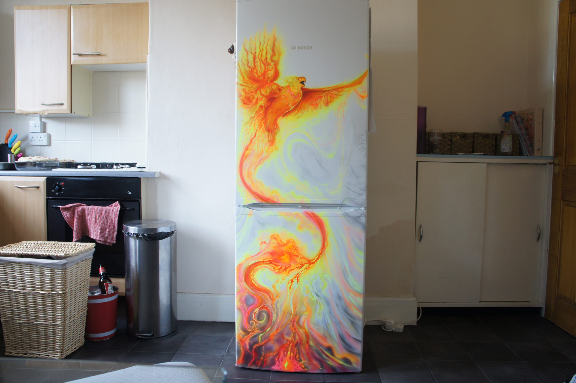 Phoenix on the refrigerator by LukeSobczakAirbrush