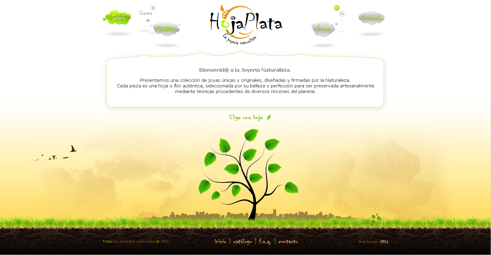 HojaPlata website - Natural jewelry