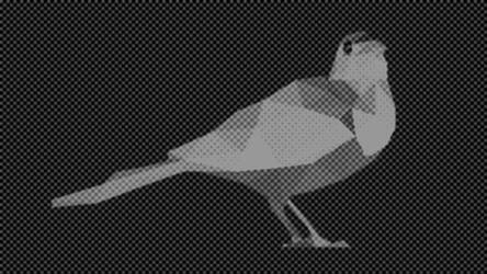 Gray Dot Bird Low Poly2