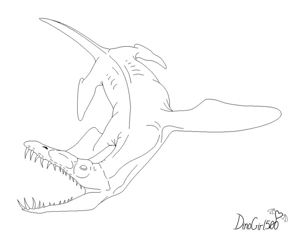 D Line Drawings Zip : Liopleurodon coloring pages