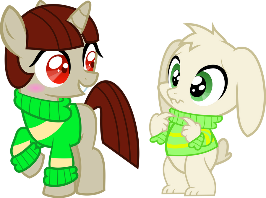 MLP!Chara and Asriel Vector by TentaVamp