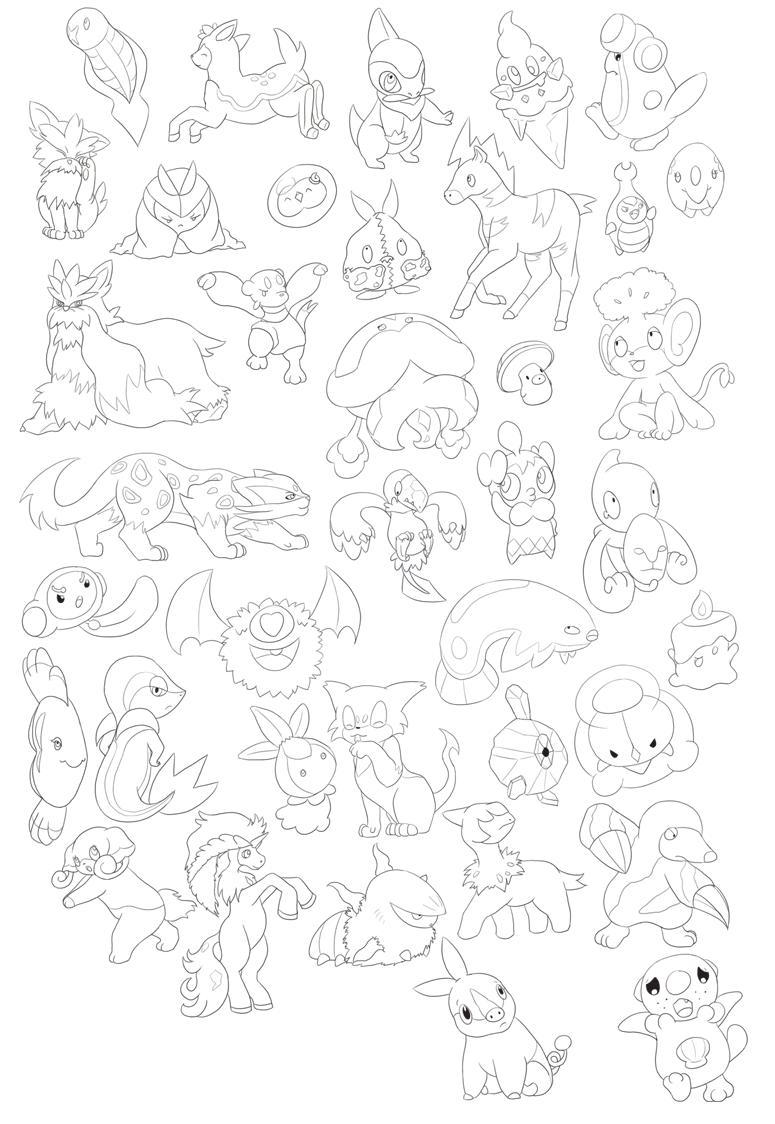 38 Unova Pokemon Outlines By 11h On Deviantart
