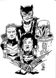 Hawkeye, Catwoman, Boba Fett, Edward Scissorhands