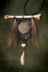 Divine Androgyne - Wolf Bone and Deer Fur Amulet