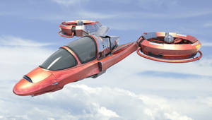 Flying car in the sky