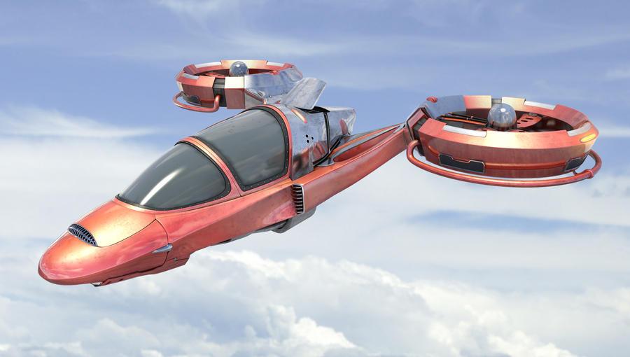 Flying car in the sky by Zelfit
