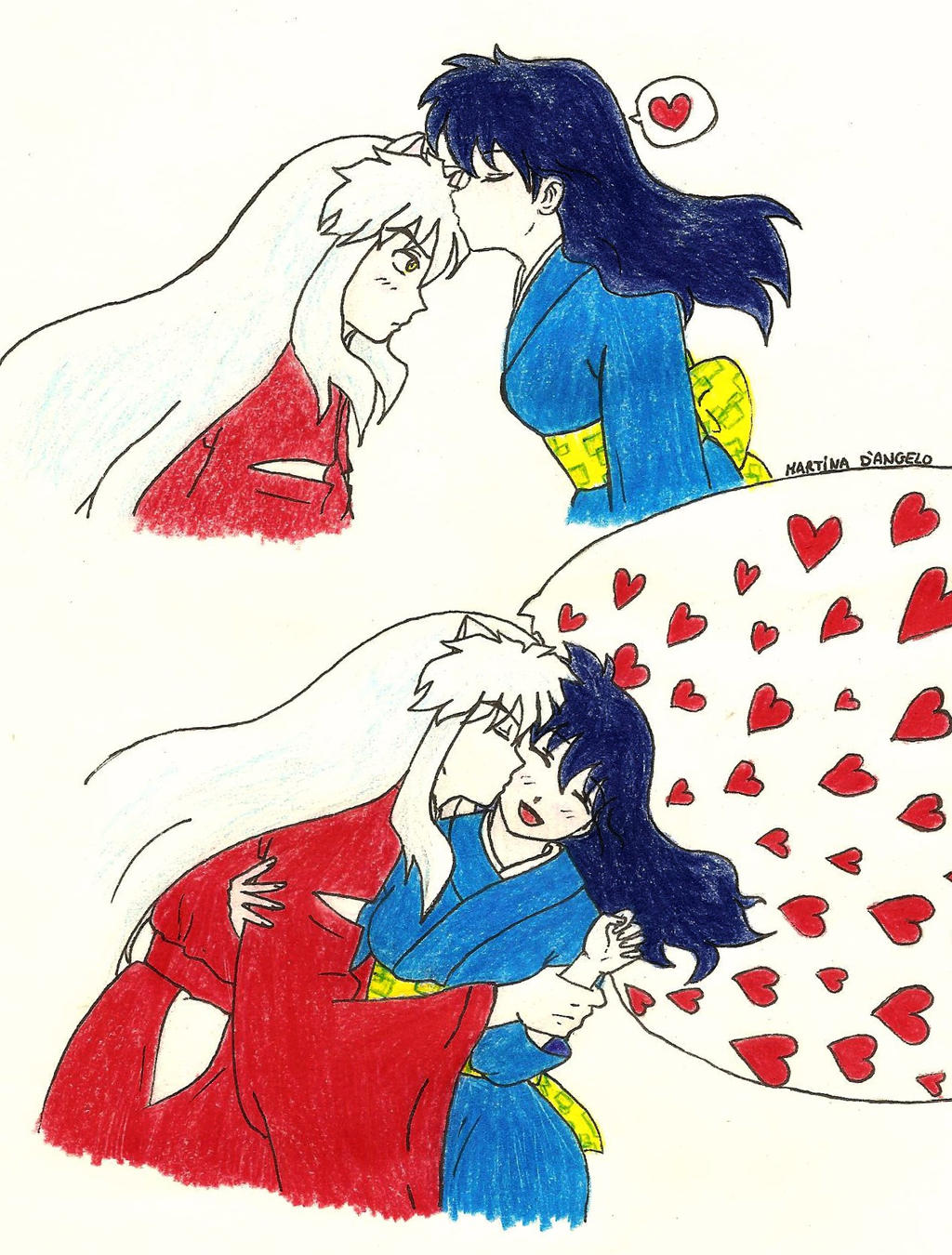Inuyasha And Kagome Cute Kisses Of Love By Lilyah9 On