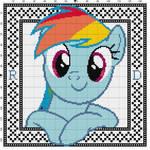 Rainbow Dash Cross Stitch Pattern with Border