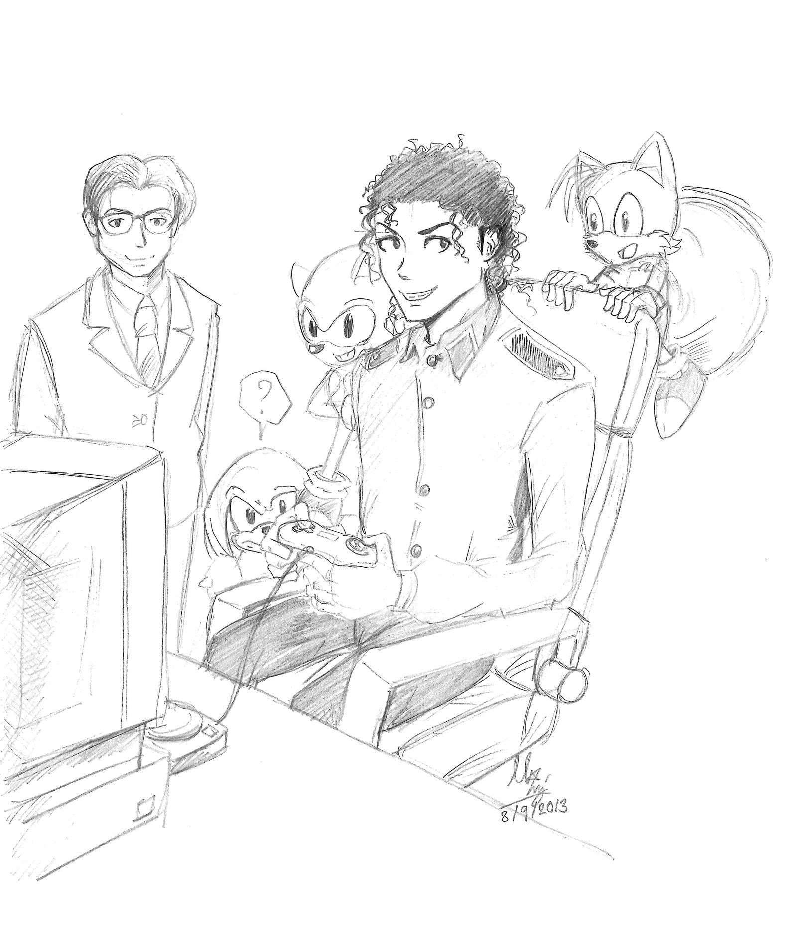 M J Sketch Images MJ and Sonic the hedge...