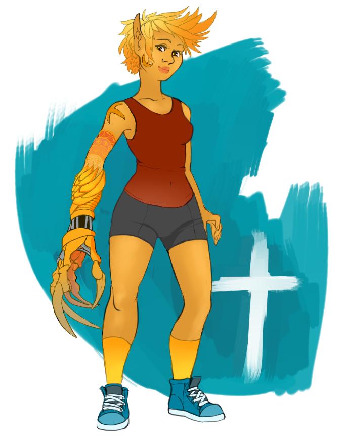 Kickass OC monster girl by Kurstan