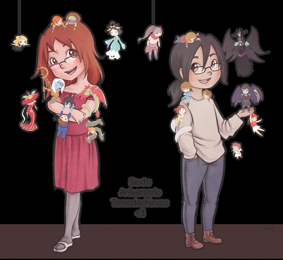 Sexto aniversario tomodachiesco by Cuti-chan