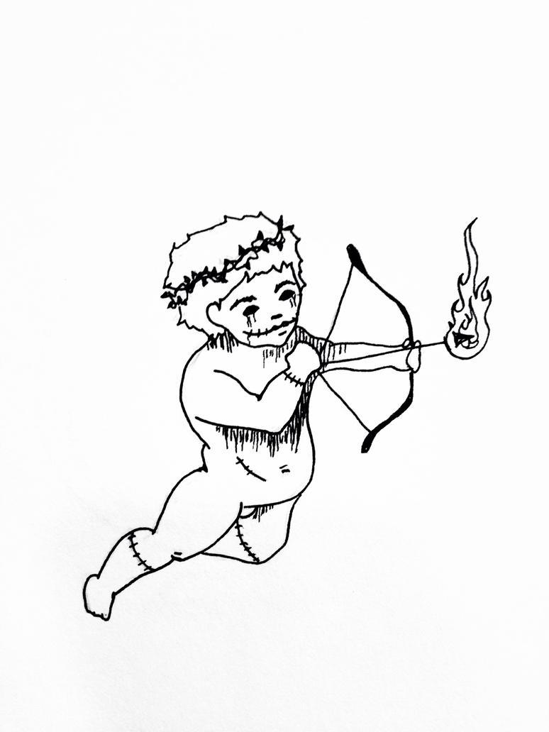 Daily Sketch #12: Creepy Cherub by lexigogesnally