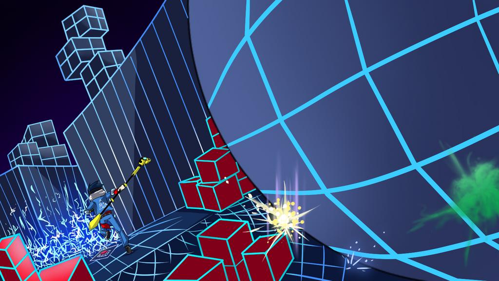 Neon Temple (Running away Phoban) by DarkRavenDemon