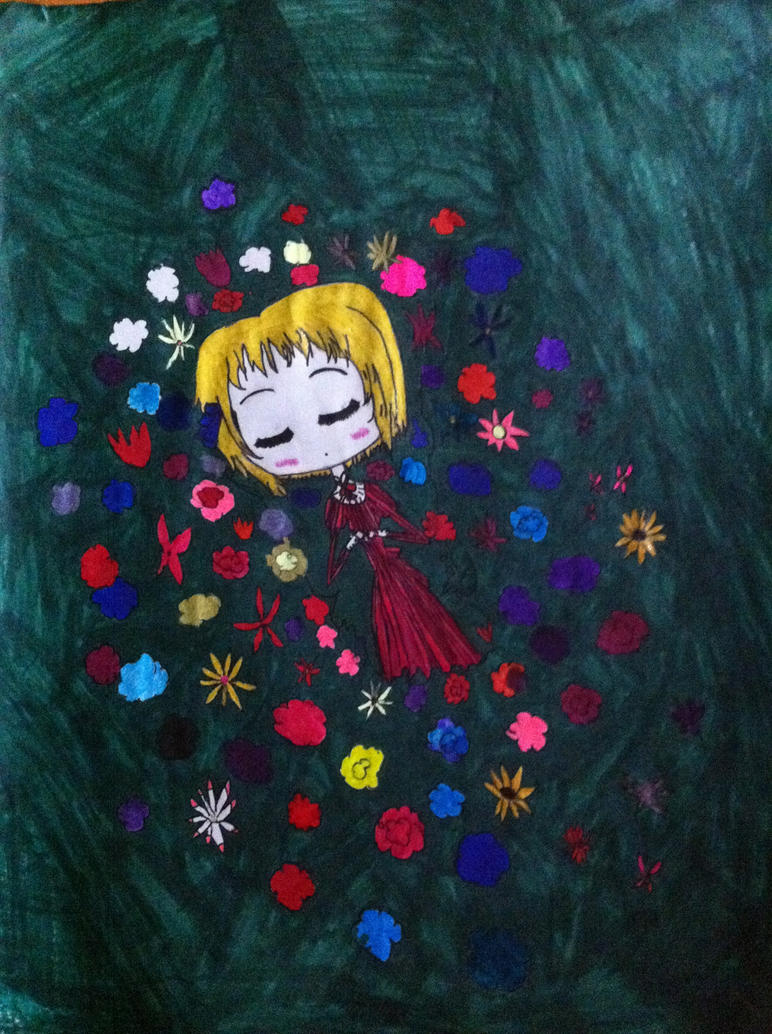 LIttle lichtenstein sleeping in a bed of flowers. by Whitelili123