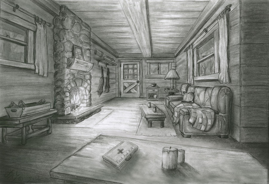 Cabin in the woods interior by jmc2d on deviantart Cabin drawings