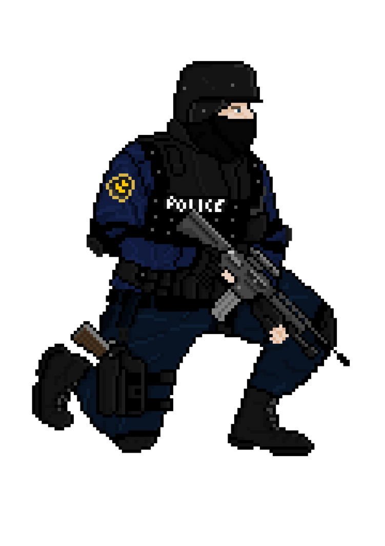 Non-Isometric Pixel Art SWAT Officer. by Falcolus on DeviantArt