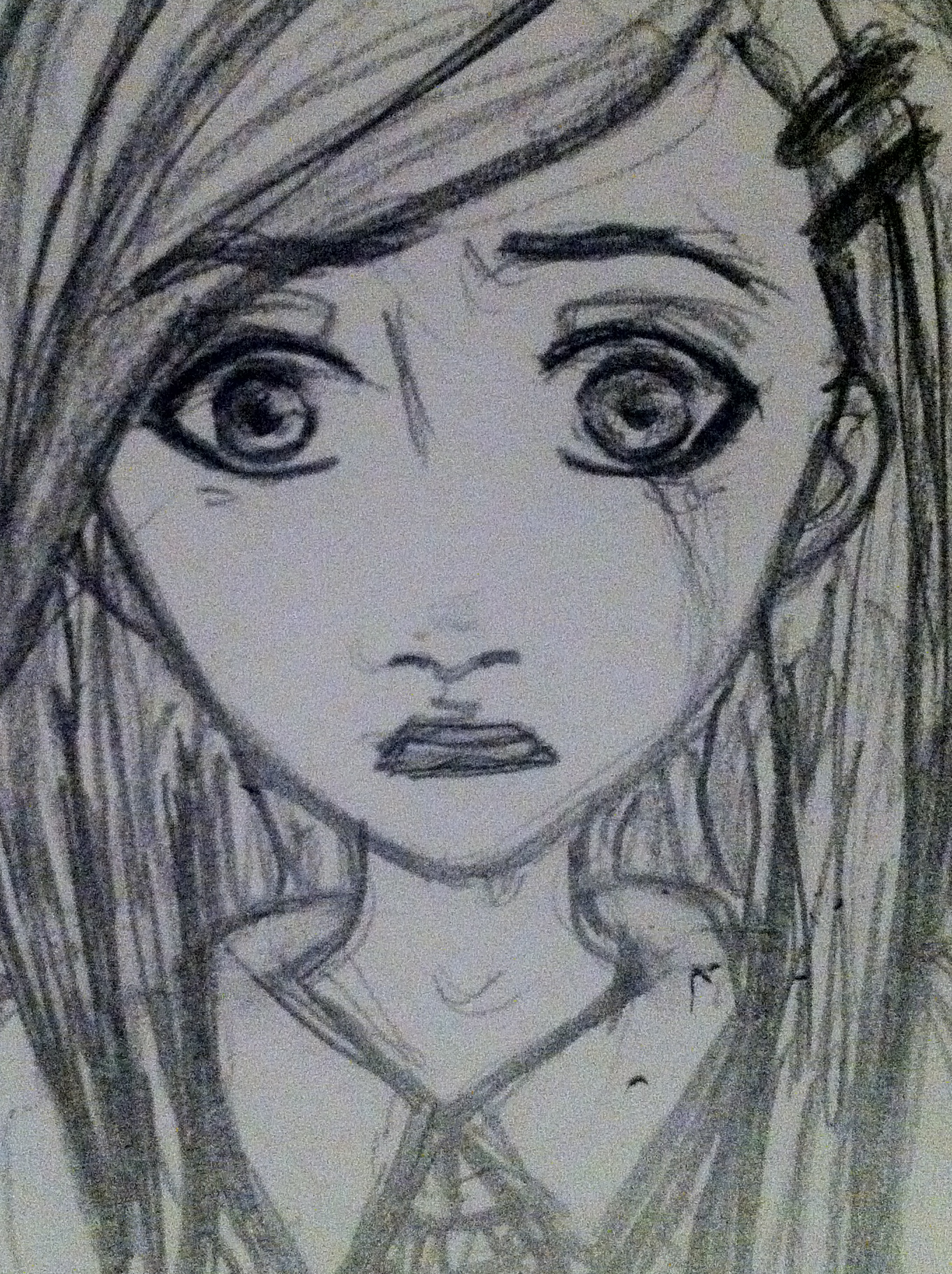 Sad Little Girl Crying Drawing