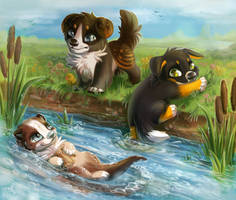 Chibi dog and otter