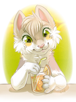 Cat with juice halfbody by KrafiCat