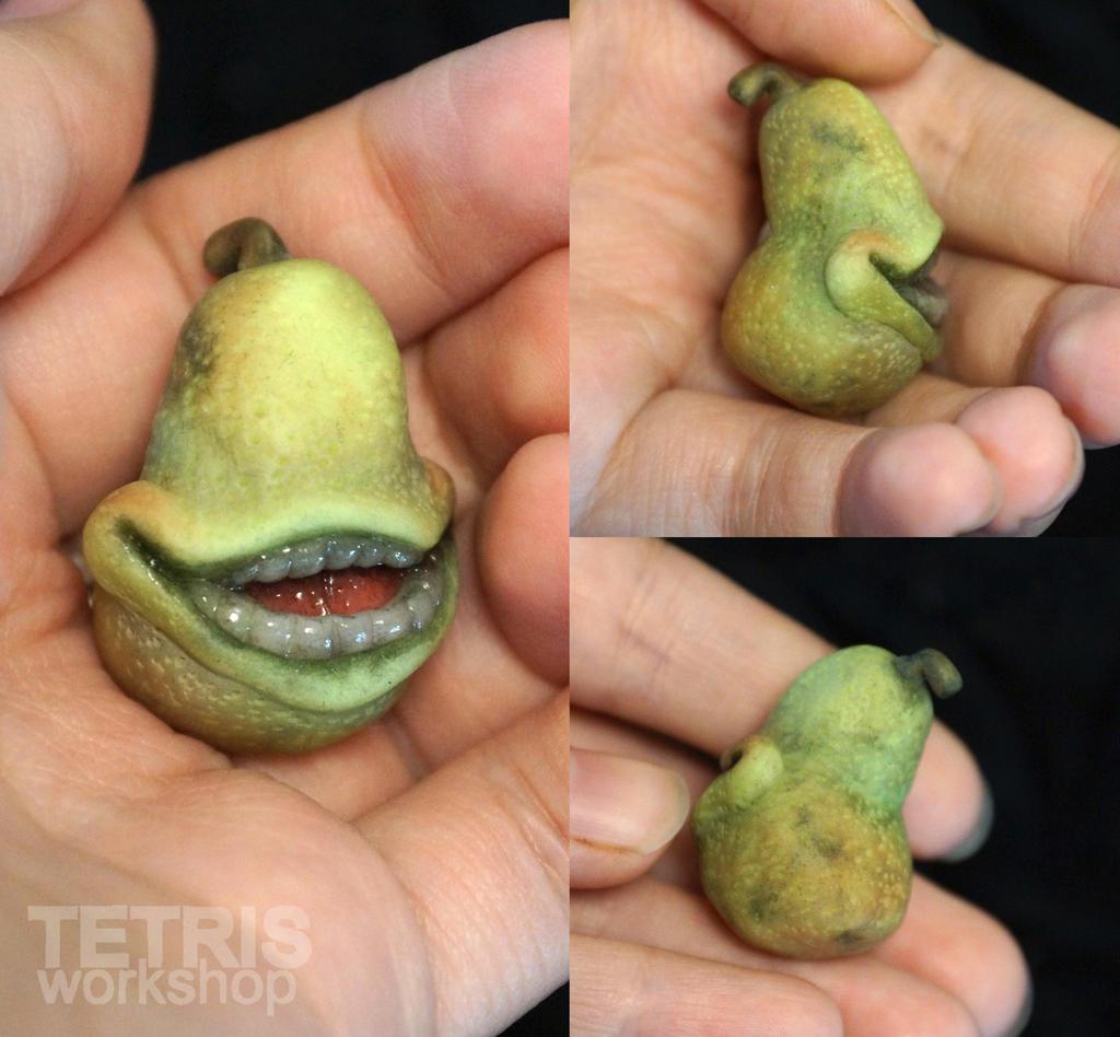 Biting Pear of Salamanca mini sculpture by KrafiCat