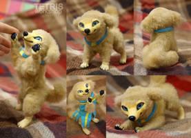 Gold dog mini doll by KrafiCat