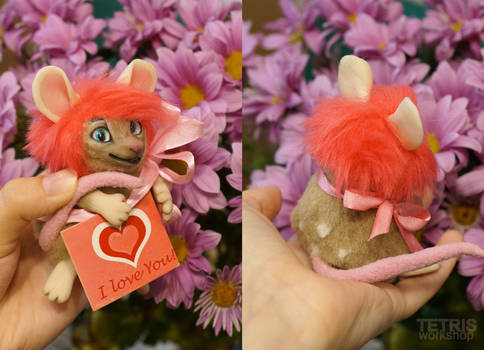 Charm doll mouse loves you