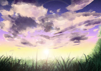Anime Background Study - Cloudy Sky x 1 by timelessrain