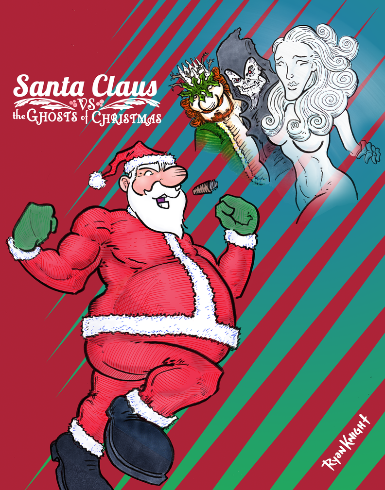 Cover for Santa Claus vs the Ghosts of Christmas by RyanKnightArt