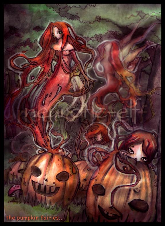 the pumpkin fairies.. by neurotic-elf