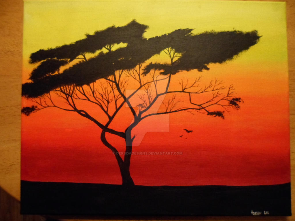 african sunset paintings easy for kids