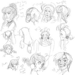 Character sketches -- Hair styles