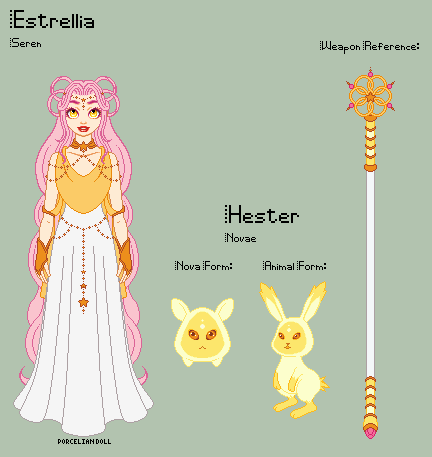 Stardust - Estrellia Reference Sheet + Hester by porcelian-doll