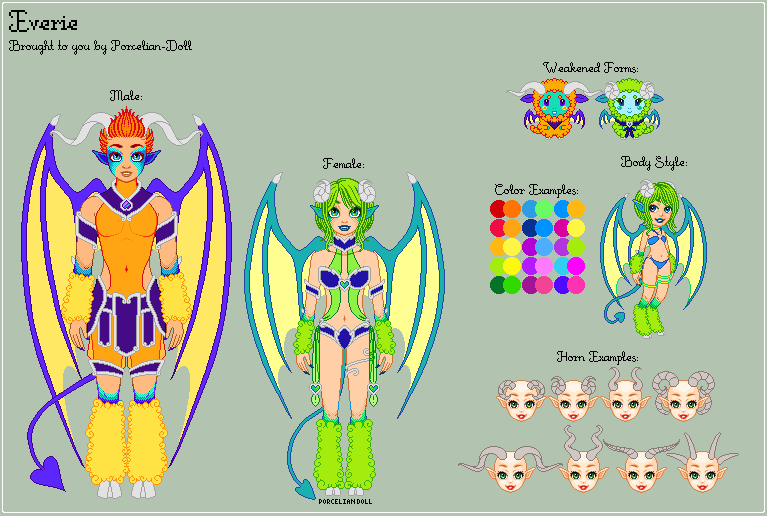 Everie Species Reference (Semi-Closed Species) by porcelian-doll