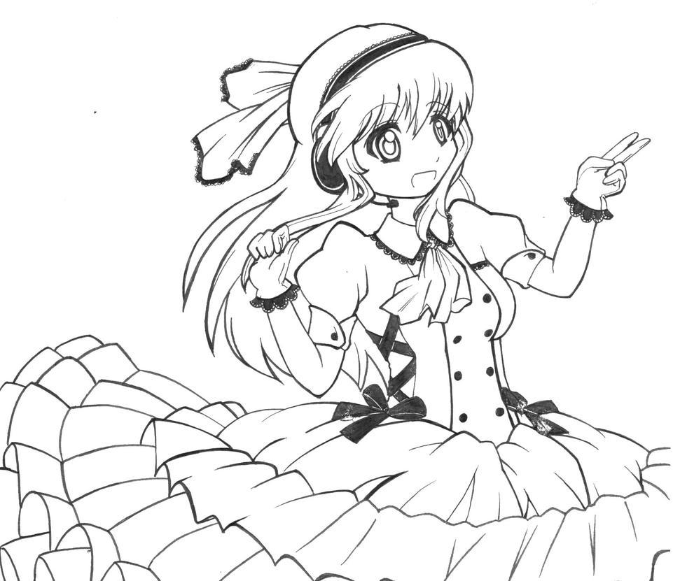 Anime Girl Lineart : Anime girl lineart by kotoriasobi on deviantart