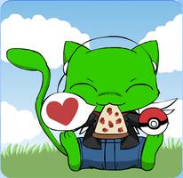 Me as an Emerald Angel Mew (eating pizza) by MattMacroPika
